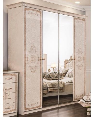 Шкаф ПАМЕЛА 4-х створчатый крем с зеркалами