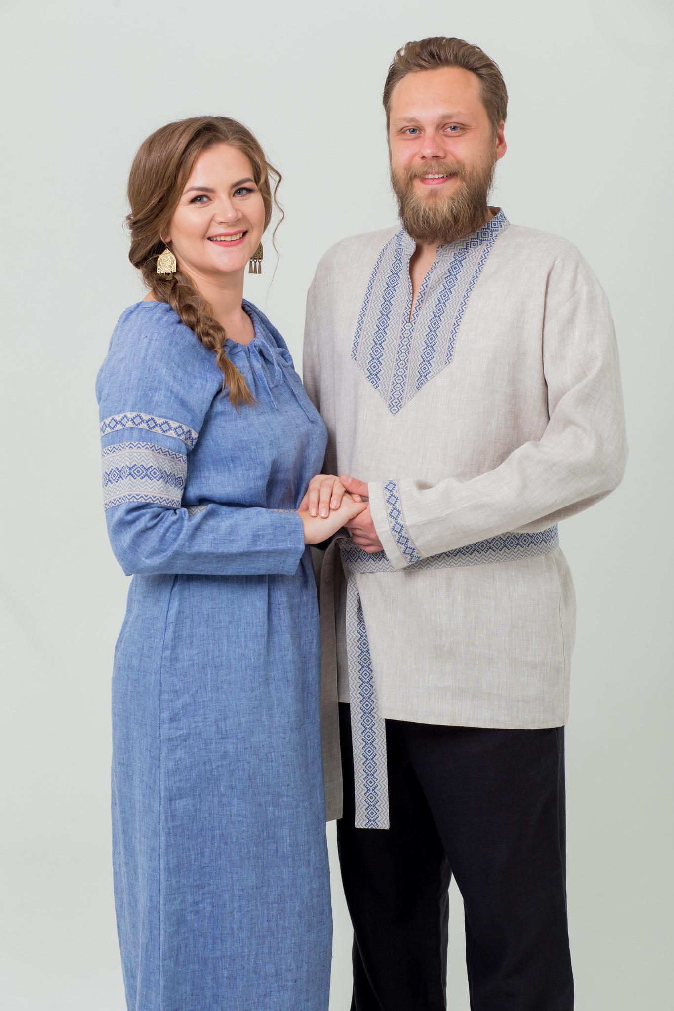 Платье в русском стиле Льняной дождь с рубахой льняной
