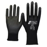Перчатки трикотажные нейлоновые с полиуретановым покрытием, черные (Nitras)