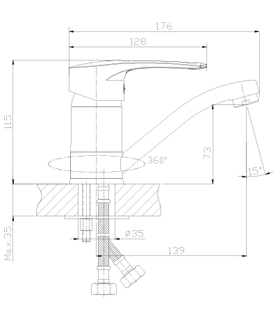 Смеситель для умывальника с поворотным изливом T40-22