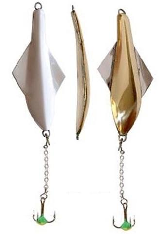 Блесна вертикальная Lucky John GLIDER с цеп. и тр., 10 г, цвет GS, арт. 101-3-GS