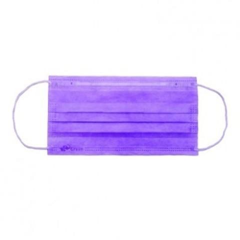 Маска медицинская 3-х слойная на резинках одноразовая (1уп - 50шт) фиолетовые