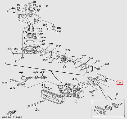 Прокладка клапанной площадки  для лодочного мотора T3 SEA-PRO (4-3)