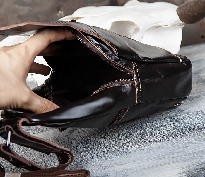 BAG449-1 Рюкзак из натуральной кожи с одной лямкой через плечо фото 09
