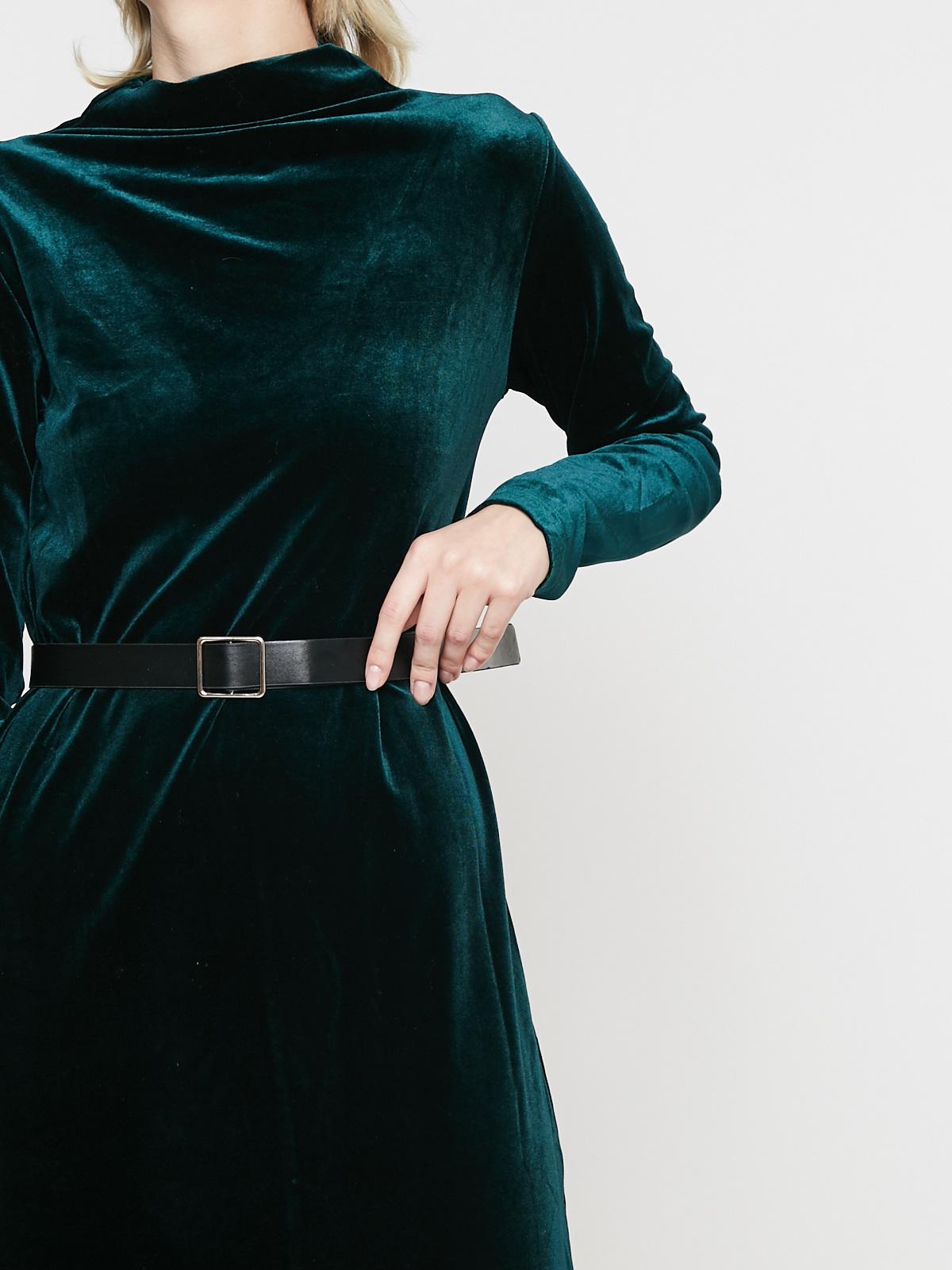 Платье бархатное с ремнем