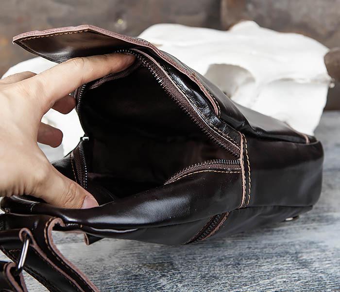 BAG449-1 Рюкзак из натуральной кожи с одной лямкой через плечо фото 10