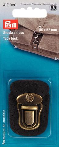 Застежка для портфеля. Prym. Коричневая кожа и состаренная латунь (Арт. 417980)