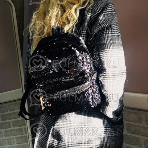 Рюкзак с пайетками и Бантом меняет цвет Чёрный-Серебристый