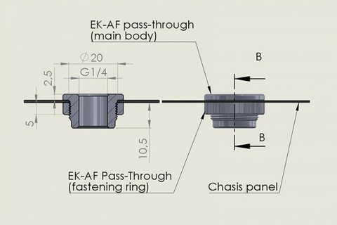 EK-AF Pass-Through G1/4 - Black Nickel