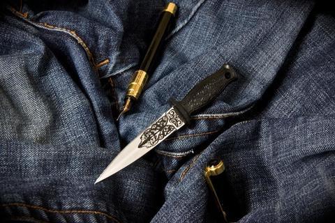 Туристический нож Кинжальчик Сувенирный Полированный Орнамент