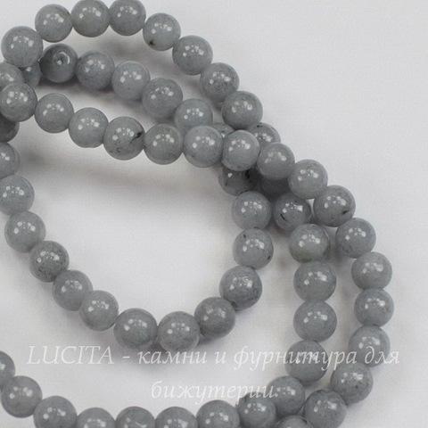 Бусина Жадеит (тониров), шарик, цвет - серый, 4 мм, нить