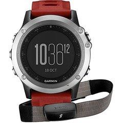 Спортивные смарт часы Garmin Fenix 3 cеребристые с красным ремешком (с датчиком) 010-01338-16