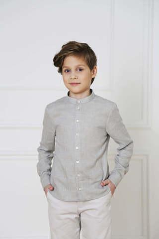 Серая хлопковая рубашка с шерстью