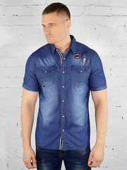 K-YB002 рубашка мужская, синяя