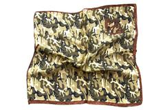 Итальянский платок из шелка хаки с принтом 0328