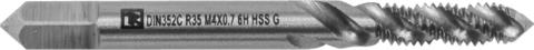 Метчик машинно-ручной T-DRIVE со спиральной канавкой для глухих отверстий с направляющей в наборе М4х0.7, HSS-G