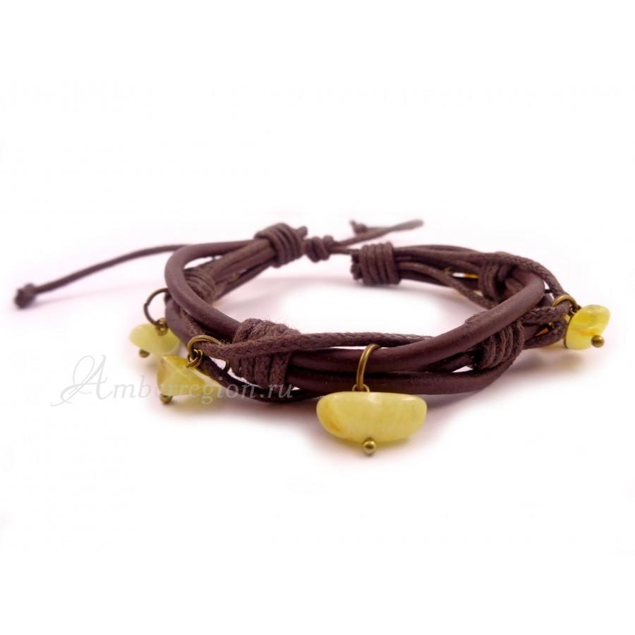 Браслет с янтарем на кожаном шнурке (10 шт.)