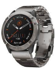 Мультиспортивные часы Garmin Fenix 6X Pro Solar - титановый с титановым браслетом  010-02157-24