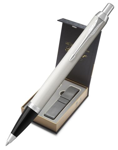 Подарочный набор: Чехол  и Шариковая ручка Parker IM Metal, K221, цвет: белый123