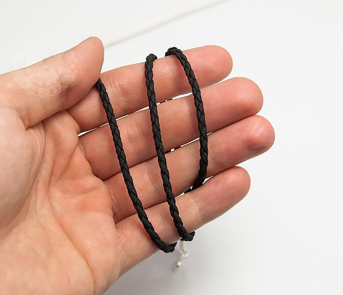 PL283-1 Плетеный шнурок на шею из премиум эко-кожи черного цвета (55 см) фото 05