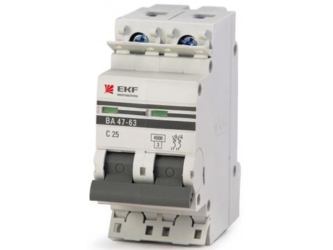 Автоматический выключатель (автомат) 2Р 25А ВА 47-63 EKF