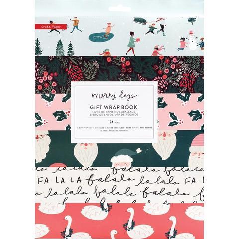 Набор упаковочной бумаги с украшениями- Merry Days Gift Wrap Book- 6 дизайнов