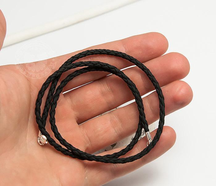 PL283-1 Плетеный шнурок на шею из премиум эко-кожи черного цвета (55 см) фото 06