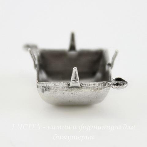 Сеттинг - основа - коннектор (1-1) для страза 12х12 мм (оксид серебра)