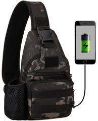 Тактический однолямочный рюкзак Protector Plus X-223 USB Темный камуфляж