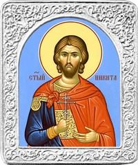 Святой Никита. Маленькая икона в серебряной раме.
