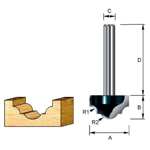Фреза пазовая фасонная классическая 25,4*38*15,9*12 мм; R=5,56 мм