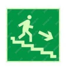 """Фотолюминесцентный знак Е13 """"Направление к эвакуационному выходу по лестнице вниз"""" (правосторонний)"""