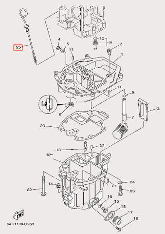 Датчик уровня масла для лодочного мотора F9,9 Sea-PRO (24-25)