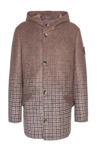 Повседневное коричневое пальто с капюшоном