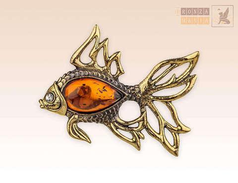 Брошь Золотая рыбка