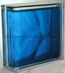 Торцевой стеклоблок синий окраска в массе Vitrablok 19x19x8