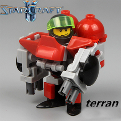Minifigures Model Star Craft Terran Marauder Red