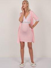 Евромама. Комплект халат и сорочка с кружевом, меланж розовый
