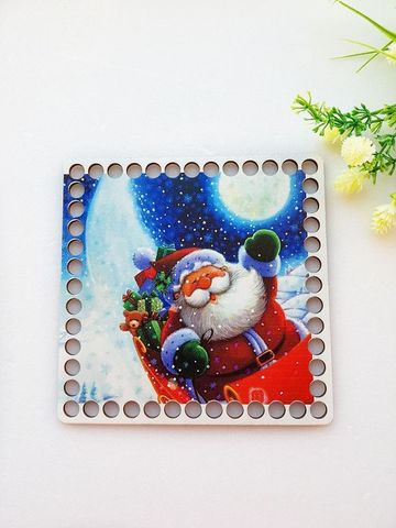 Квадрат 15 см, рисунок Дед Мороз