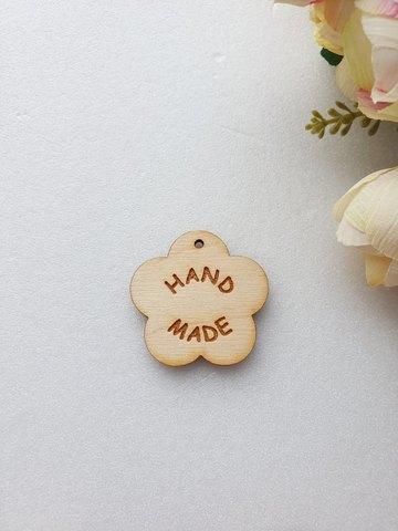 Бирка Цветок Hand made  25 мм, дерево