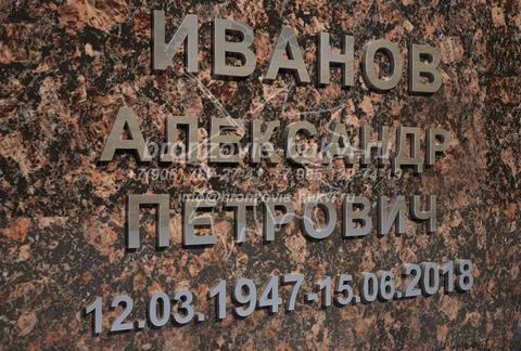 ФИО на памятник из нержавеющей стали. Рубленый шрифт (без засечек).