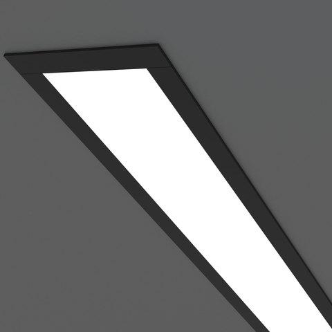 Линейный светодиодный встраиваемый светильник 128см 25Вт 4200К черный матовый 100-300-128