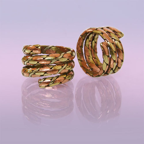 Кольцо Три металла плетёное