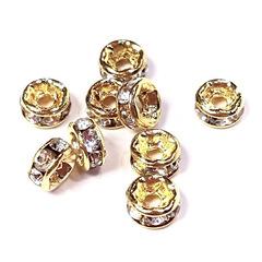 Рондель со стразами 4 мм золото - прямая обжимка прозрачный
