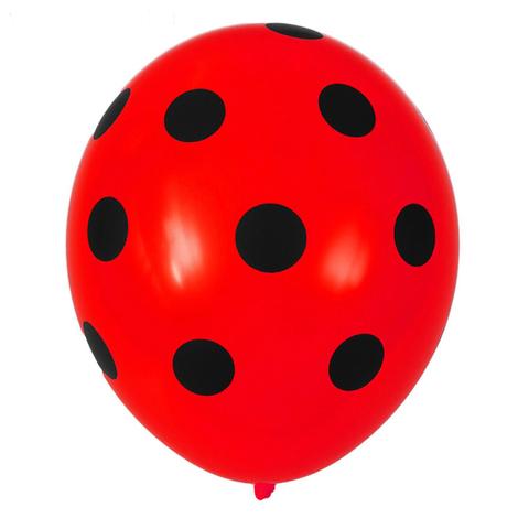 Воздушный шар красный с черным «Горохом»