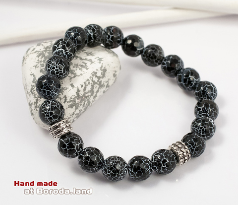 BS545-2 Мужской браслет из натуральных камней (агат