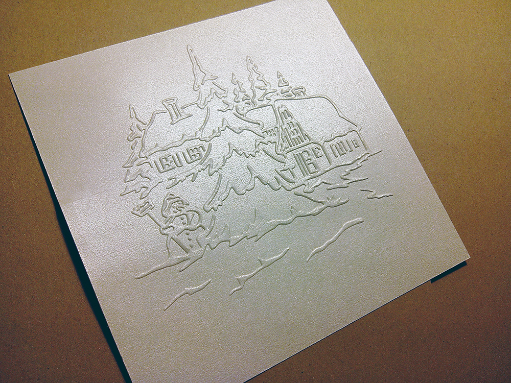 Бумага с тиснением «Снеговик» 15х15 см