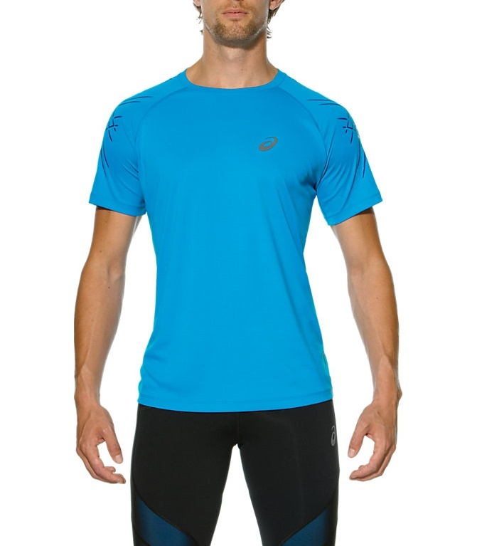 Мужская футболка для бега Asics Stripe SS (126236 0823) голубая фото