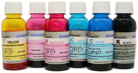 Набор чернил DCTEC для Epson L800, L805, L810, L850, L1800. 6 цветов по 100 мл