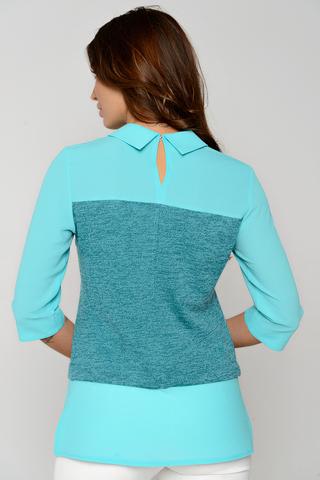 Современная блузка пастельных тонов. Сочетание двух тканей придаст изюминку Вашему образу. Рукав 3/4. (Длины: 44-64см; 46-65см; 48-66см; 50-67см; 52-68см)